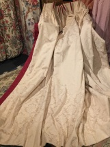 """Cream damask pre-loved curtains fit window W106"""" x D83"""""""